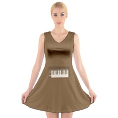 Keyboard Brown V-Neck Sleeveless Skater Dress