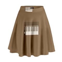 Keyboard Brown High Waist Skirt