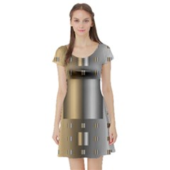 Gold Silver Carpet Short Sleeve Skater Dress
