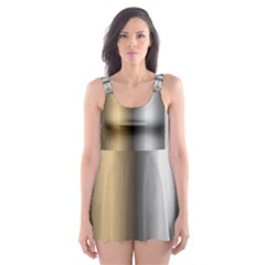 Gold Silver Carpet Skater Dress Swimsuit