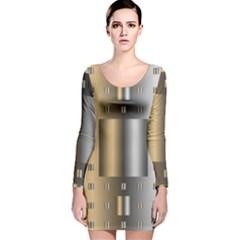 Gold Silver Carpet Long Sleeve Velvet Bodycon Dress