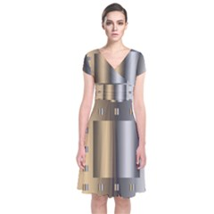 Gold Silver Carpet Short Sleeve Front Wrap Dress