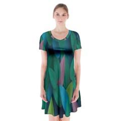 Leaf Rainbow Short Sleeve V-neck Flare Dress