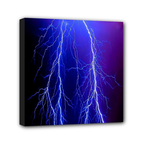 Lightning Electricity Elements Danger Night Lines Patterns Ultra Mini Canvas 6  x 6