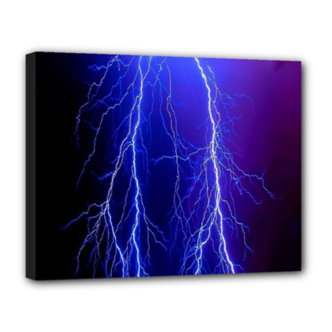 Lightning Electricity Elements Danger Night Lines Patterns Ultra Canvas 14  x 11