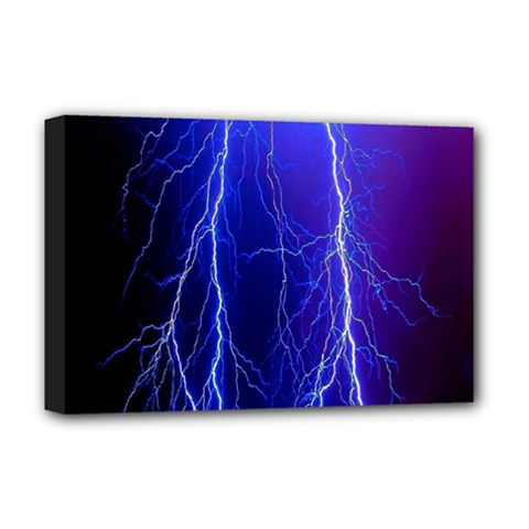 Lightning Electricity Elements Danger Night Lines Patterns Ultra Deluxe Canvas 18  x 12