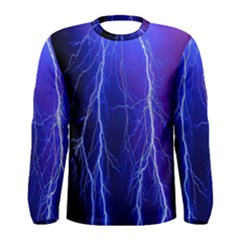 Lightning Electricity Elements Danger Night Lines Patterns Ultra Men s Long Sleeve Tee