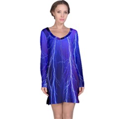 Lightning Electricity Elements Danger Night Lines Patterns Ultra Long Sleeve Nightdress