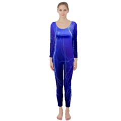 Lightning Electricity Elements Danger Night Lines Patterns Ultra Long Sleeve Catsuit