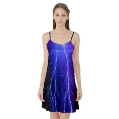 Lightning Electricity Elements Danger Night Lines Patterns Ultra Satin Night Slip