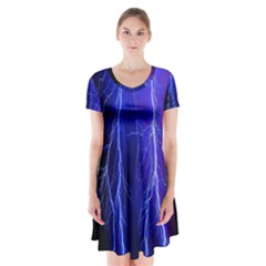 Lightning Electricity Elements Danger Night Lines Patterns Ultra Short Sleeve V-neck Flare Dress