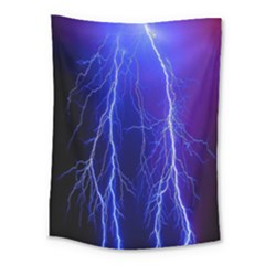 Lightning Electricity Elements Danger Night Lines Patterns Ultra Medium Tapestry