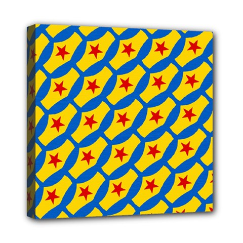 Images Album Heart Frame Star Yellow Blue Red Mini Canvas 8  x 8