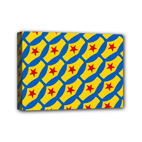Images Album Heart Frame Star Yellow Blue Red Mini Canvas 7  x 5