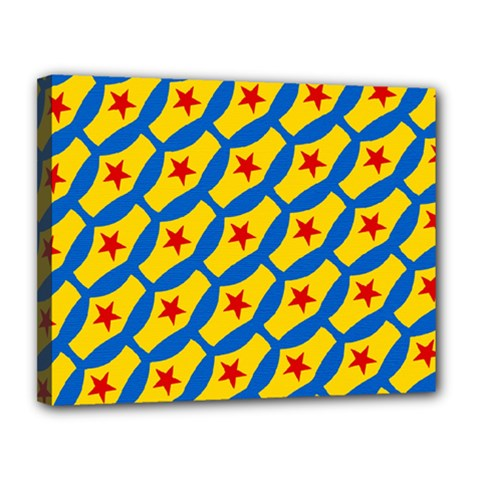 Images Album Heart Frame Star Yellow Blue Red Canvas 14  x 11