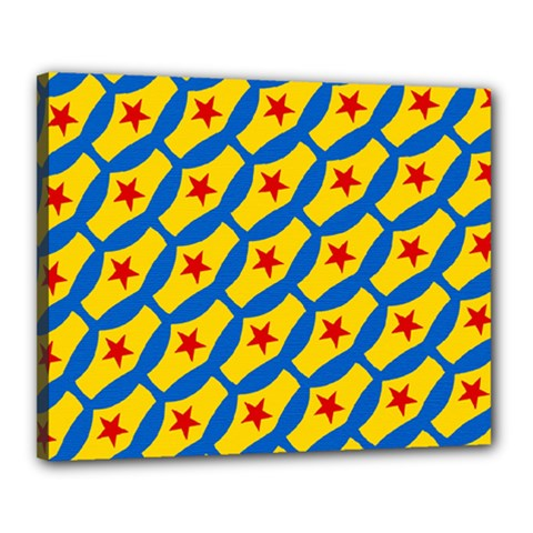 Images Album Heart Frame Star Yellow Blue Red Canvas 20  x 16