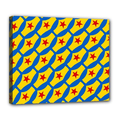 Images Album Heart Frame Star Yellow Blue Red Deluxe Canvas 24  x 20