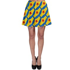 Images Album Heart Frame Star Yellow Blue Red Skater Skirt