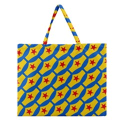 Images Album Heart Frame Star Yellow Blue Red Zipper Large Tote Bag
