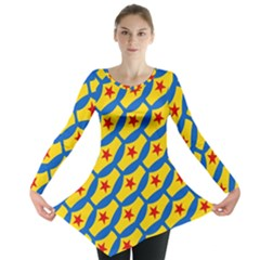 Images Album Heart Frame Star Yellow Blue Red Long Sleeve Tunic
