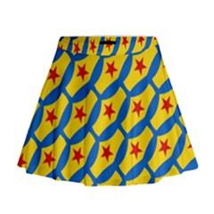 Images Album Heart Frame Star Yellow Blue Red Mini Flare Skirt