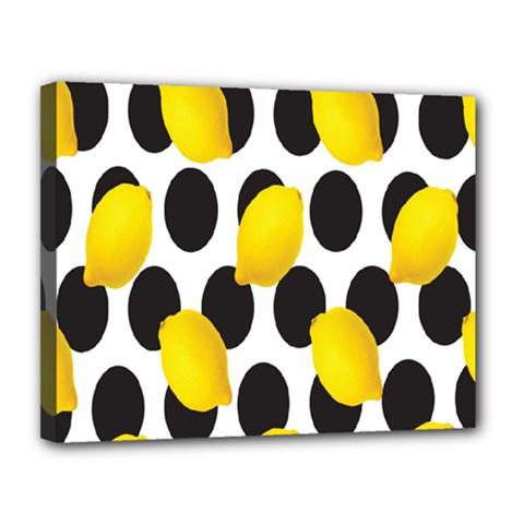 Orange Lime Fruit Yellow Hole Canvas 14  x 11