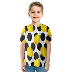 Orange Lime Fruit Yellow Hole Kids  Sport Mesh Tee
