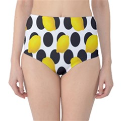 Orange Lime Fruit Yellow Hole High-Waist Bikini Bottoms