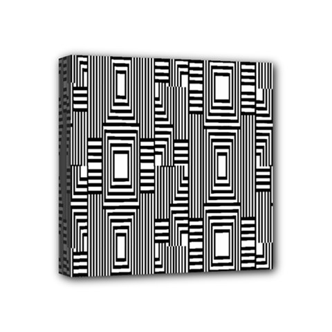 Line Hole Plaid Pattern Mini Canvas 4  x 4