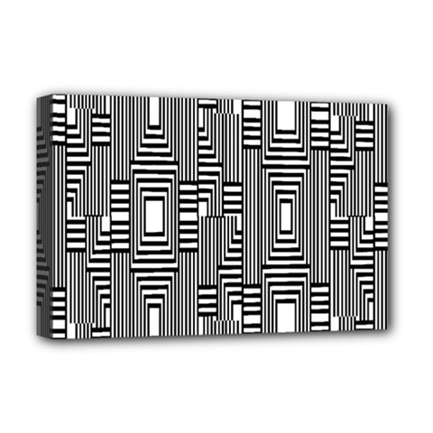 Line Hole Plaid Pattern Deluxe Canvas 18  x 12