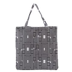 Line Hole Plaid Pattern Grocery Tote Bag
