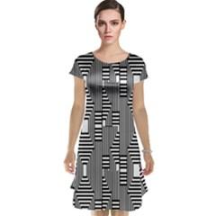 Line Hole Plaid Pattern Cap Sleeve Nightdress