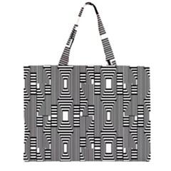 Line Hole Plaid Pattern Large Tote Bag