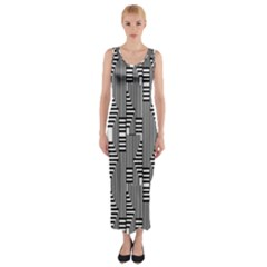 Line Hole Plaid Pattern Fitted Maxi Dress