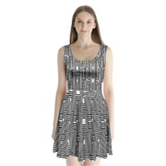 Line Hole Plaid Pattern Split Back Mini Dress