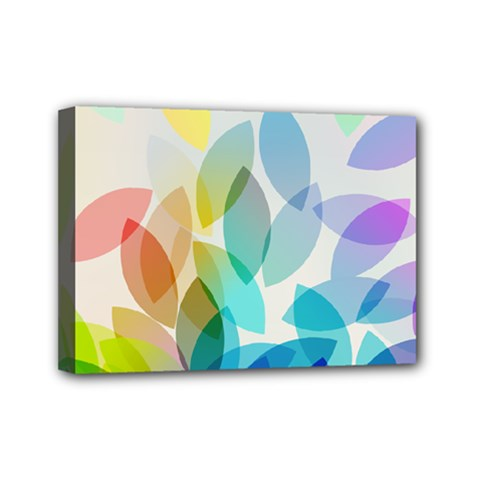 Leaf Rainbow Color Mini Canvas 7  x 5