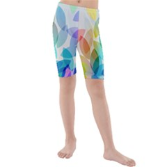 Leaf Rainbow Color Kids  Mid Length Swim Shorts