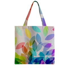 Leaf Rainbow Color Zipper Grocery Tote Bag