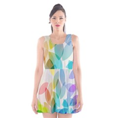 Leaf Rainbow Color Scoop Neck Skater Dress