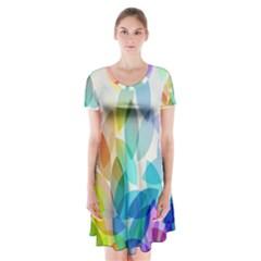 Leaf Rainbow Color Short Sleeve V-neck Flare Dress