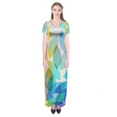 Leaf Rainbow Color Short Sleeve Maxi Dress