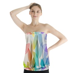 Leaf Rainbow Color Strapless Top