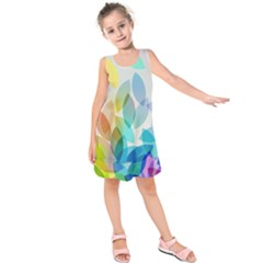 Leaf Rainbow Color Kids  Sleeveless Dress