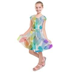Leaf Rainbow Color Kids  Short Sleeve Dress