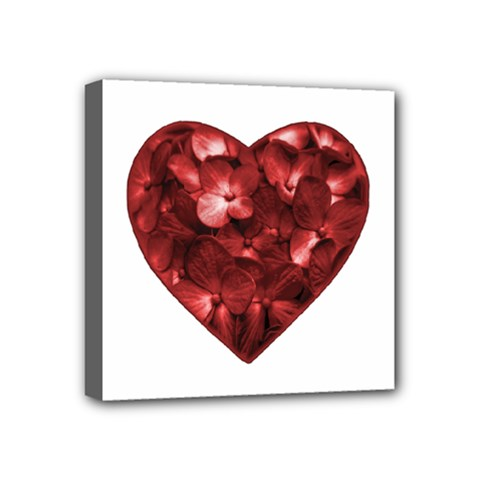 Floral Heart Shape Ornament Mini Canvas 4  x 4