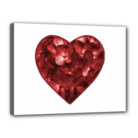 Floral Heart Shape Ornament Canvas 16  x 12