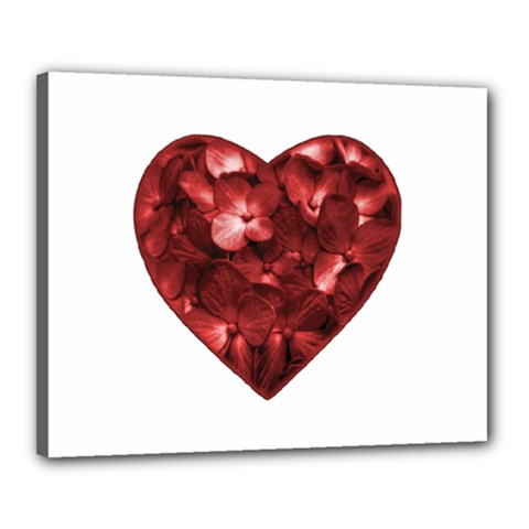 Floral Heart Shape Ornament Canvas 20  x 16