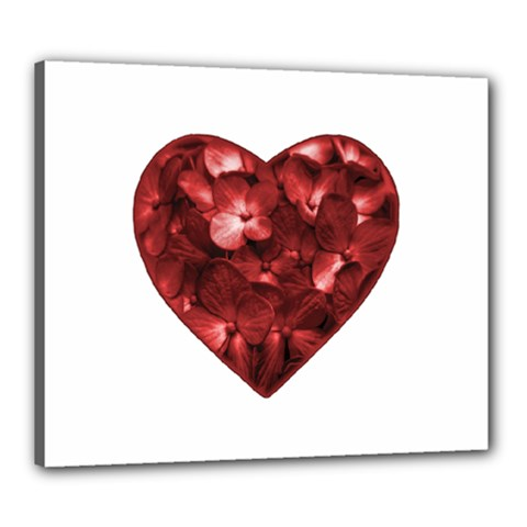 Floral Heart Shape Ornament Canvas 24  x 20