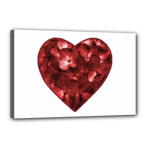 Floral Heart Shape Ornament Canvas 18  x 12