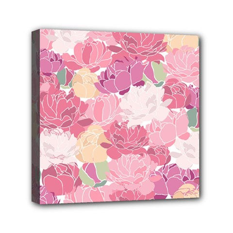 Peonies Flower Floral Roes Pink Flowering Mini Canvas 6  x 6
